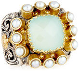 Konstantino Amphitrite Cushion Agate & Multi-Pearl Statement Ring, Size 7