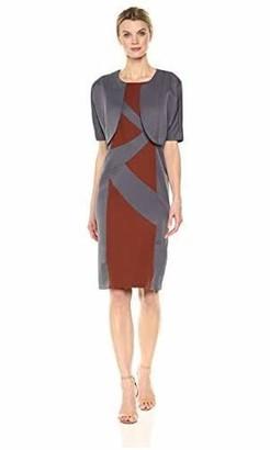 Maya Brooke Women's Color Blocked Three Quarte Sleeve Jacket and Dress Set