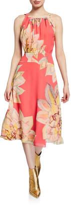 Trina Turk Summery Floral-Print Chiffon Halter Dress