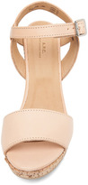 A.P.C. Lisse Calfskin Leather Sandals in Beige Rose