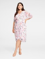 Forever New Tori Curve Wrap-Over Dress - BLUSH VINTAGE ORCHID PRINT - 16