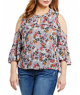 Democracy Plus Cold-Shoulder Printed Top