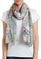 Lord & Taylor Semi-Sheer Map Print Scarf