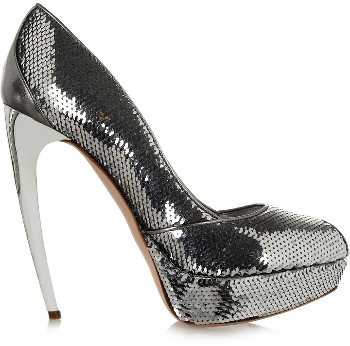 Alexander McQueen Sequined leather pumps
