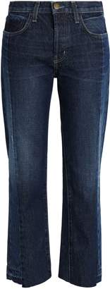 Current/Elliott Two-tone Mid-rise Straight-leg Jeans