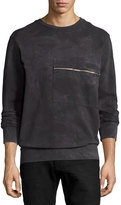 Diesel Tie-Dyed Marble Zip-Pocket Sweatshirt, Black