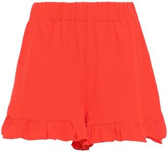 Ganni Ruffled Stretch-crepe Shorts