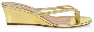 Aquazzura Pedi Metallic Leather Wedge Thong Sandals