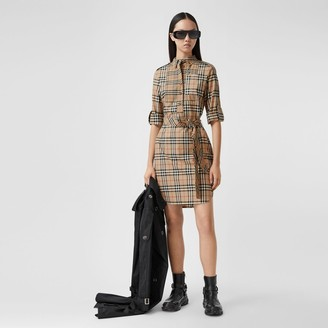 Burberry Logo Applique Check Cotton Tie-waist Shirt Dress