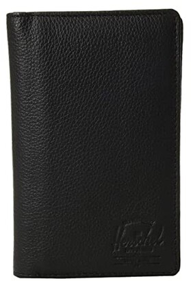 Herschel Search Leather RFID (Black Pebbled Leather) Wallet Handbags