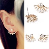 Banggood 1set Lovely Crysta Pearl Ear Stud Front and Back Earbob