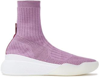 Stella McCartney Loop Metallic Ribbed And Open-knit Slip-on Sneakers