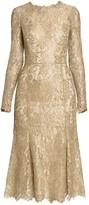 Dolce & Gabbana Goldtone Lace Fit-&-Flare Dress