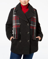 London Fog Plus Size Wool-Blend Peacoat with Scarf