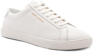 Saint Laurent Leather Andy Low-Top Sneakers in Optic White | FWRD