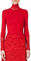 Akris Long-Sleeve Slash-Detail Turtleneck, Red