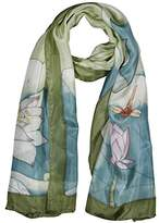 Invisible World Women's 100% Silk Hand Painted Scarf Dragonfly and Lotus