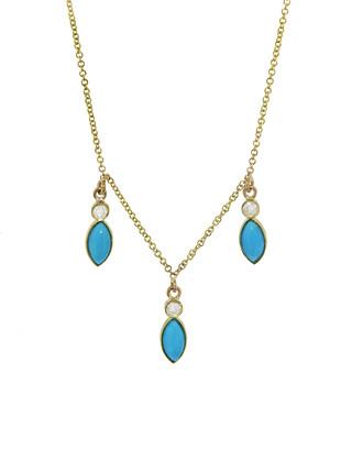 Jennifer Meyer Three Diamond Bezel With Turquoise Marquise Dangle Necklace