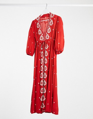 Free People embroidered v maxi dress in red