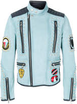Diesel Black Gold studded patch-appliquéd biker jacket