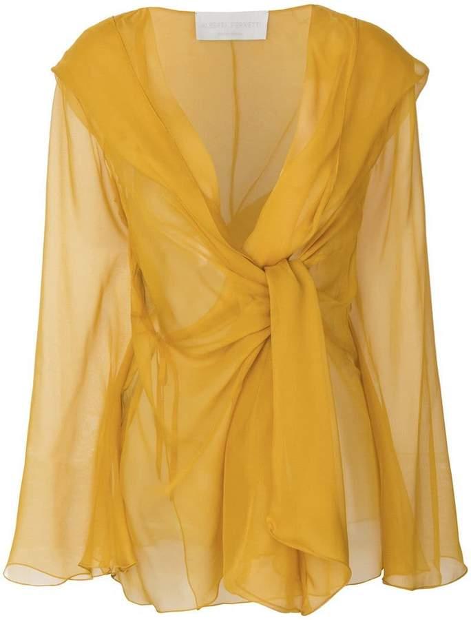 Alberta Ferretti sheer twist detail blouse