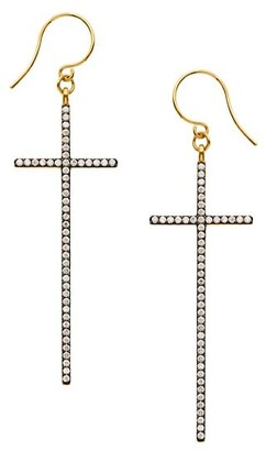 Adriana Orsini Edgy Two-Tone & Cubic Zirconia Extra-Large Cross Drop Earrings