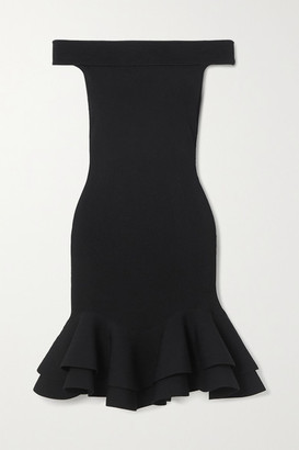Alexander McQueen Off-the-shoulder Ruffled Ribbed Stretch-knit Mini Dress - Black