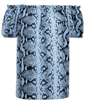 Dorothy Perkins Womens Blue Snake Print Bardot Top, Blue