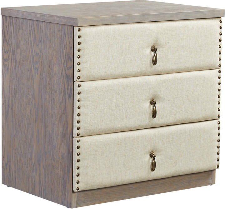Mikasa Furniture Vintage-Looking Upholstered Bedside Table