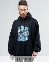 Reclaimed Vintage Inspired Super Oversized Hoodie With Wolf Print