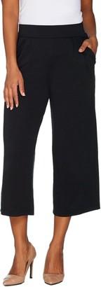 Halston H by Regular Knit Cropped Wide Leg Pants