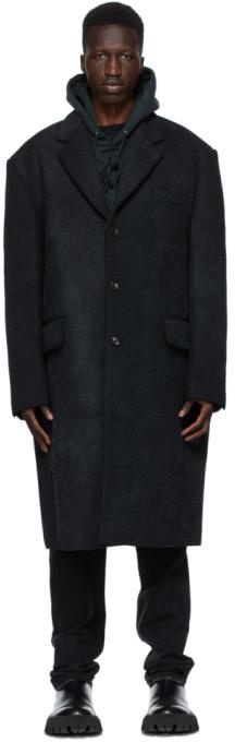 we11done Black Felted Wool Coat