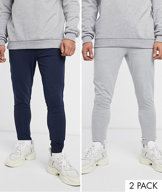 Asos Design DESIGN super skinny lightweight joggers 2 pack in navy/grey marl-Multi