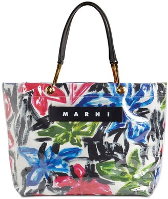 Marni GLOSSY GRIP MEDIUM SQUARE TOTE BAG