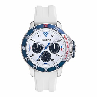 Nautica Men's Stainless Steel Quartz Silicone Strap White 22 Casual Watch (Model: NAPBHS017)