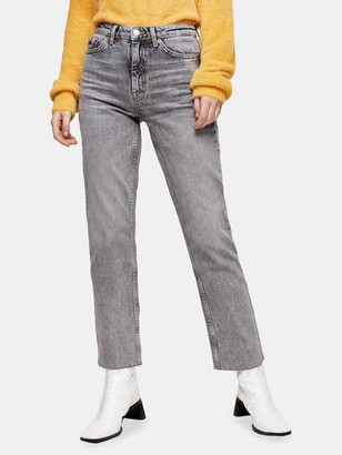 Topshop Straight Leg Jeans - Grey