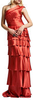Kay Unger One-Shoulder Tiered Down