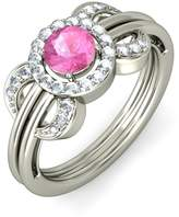 PEACOCK JEWELS 14K Gold (HallMarked), 0.24 cttw Diamond (IJ | SI ) Pink Sapphire and Diamond Engagement Wedding Ring Size - 5.5