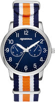 Arizona Mens Silver Tone Orange And Blue Strap Watch