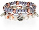 Robert Rose Neutral Three-Row Beaded Stretch Bracelet