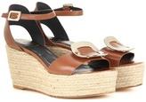 Roger Vivier Corda Leather Espadrille Wedge Sandals