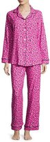 BedHead Demi-Ball Dotted Classic Pajama Set, Fuchsia/Black