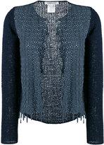 Lamberto Losani woven suede cardigan - women - Cotton/Suede/Polyamide - M