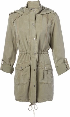 Angie Women's Military Green Vintage Wash Jacket X-Large
