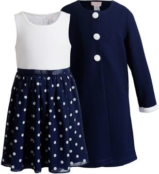 Youngland Girls 4-6x Polka-Dot Dress & Coat Set