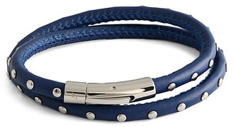 Tateossian Stainless Steel Leather Studded Wrap Bracelet