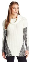 Heather B Women's Part Marled Hi Slit Cowl Tunic