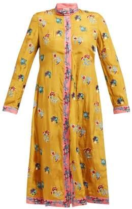 Le Sirenuse Le Sirenuse, Positano - Sultana Floral-embroidered Silk Dress - Womens - Yellow Multi