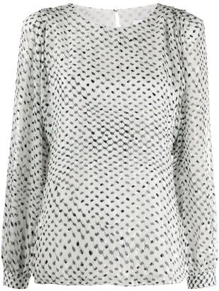Lala Berlin polka Kufiya print semi sheer blouse