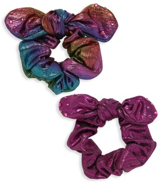 Bari Lynn 2-Piece Crystal Embellished Scrunchies